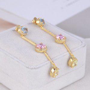 Henri Bendel Colorful Zirconium Chain Earrings